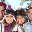 Stock Photo: Portrait of family on skiing holiday together