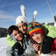 Friends on skiing trip together — Stock Photo #7710283