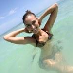 Happy woman bathing in sea — Stock Photo #7710307