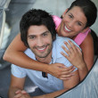 Portrait of couple in tent — Stock Photo #7710807
