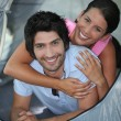 Stock Photo: Portrait of couple in tent