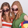 Two young women in sunglasses — Stock Photo