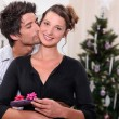 Couple celebrating Christmas together — Stock Photo