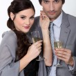 A couple drinking champagne. — Stock Photo