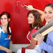 Three woman painting. — Stock Photo