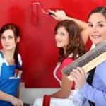Three woman painting. — Stock Photo