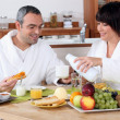 Having breakfast together - Stock Photo