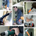 Mosaic of carpenter working — Stock Photo #7714627