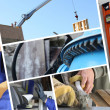 bouw collage met close-up details voor timmerwerk — Stockfoto
