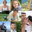 Mosaic of various outdoor activities — Stock Photo