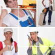 Mosaic of four teenage apprentices — Stock Photo
