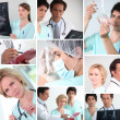 Mosaic of various hospital staff — Stock Photo