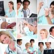 様々 な病院スタッフのモザイク — ストック写真