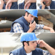 Collage of construction worker and his walkie talkie — Stock Photo #7715140
