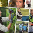 Stock Photo: Vines, stainless tanks, wine producers and oenologists