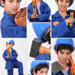 A boy dressed in workman with tools — Stock Photo