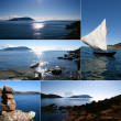 Montage of blue sea vacation shots - Stock Photo