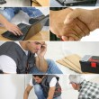 Montage of a laborer laying laminate floor — Stock Photo #7715295