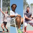 Collage of young men playing tennis — Stock Photo