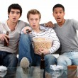 Young men watching a football game - Stock Photo