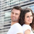 Couple outside office building — Stock Photo