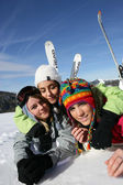 Friends on a skiing trip together — Stock Photo