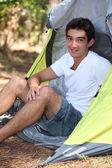 Husbil sitter i sitt tält — Stockfoto