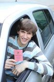 Boy in car — Stock Photo