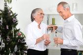 Couple celebrating Christmas together — Stock Photo
