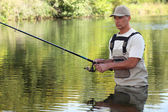 Man fishing — Stock Photo