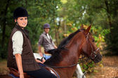 Um cavaleiro a cavalo — Foto Stock