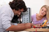 Man repairing his computer. — Stock Photo