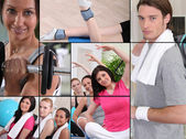 Mosaic of adults exercising at the gym — Stock Photo