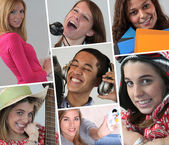 A collage of adolescents — Stock Photo