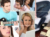 Photomontage representing female and male music fans — Stock Photo