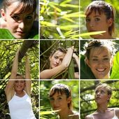 Women poses in a bamboo forest — Stock Photo