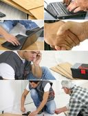 Montage of a laborer laying laminate floor — Stock Photo