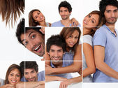 Happy man and woman, photo-montage — Stock Photo