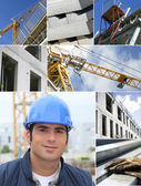 Construction works collage — Stock Photo