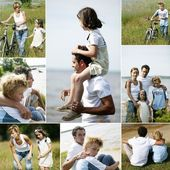 Collage of a family in the countryside — Stock Photo