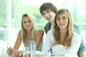 Three classmates revising together — Stock Photo