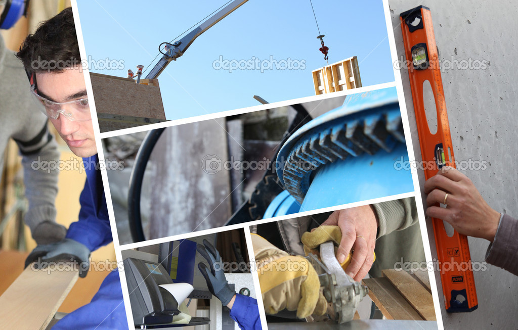 Construction collage with closeup details of carpentry — Stock Photo #7714655
