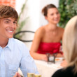 Young man on a date in a restaurant — Stock Photo