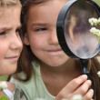 Children with a magnifying glass — Stock Photo