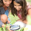 Stock Photo: Girls looking through magnifying glass