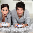 Stock Photo: Couple playing video game.