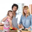 Mother preparing a meal for her family — Stock Photo