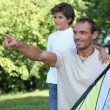 Father and son flying kite — Stock Photo #7739389