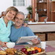 Happy senior couple embracing — Stock Photo