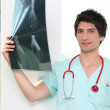 Stock Photo: Doctor holding radiography